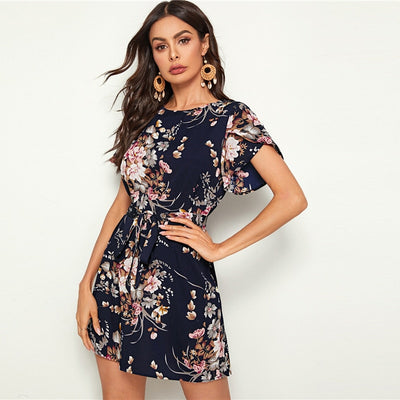 Navy Floral Print Petal Sleeve Belted Tunic Shift Dress Women Summer Short Sleeve Ladies Straight Bohemian Short Dresses