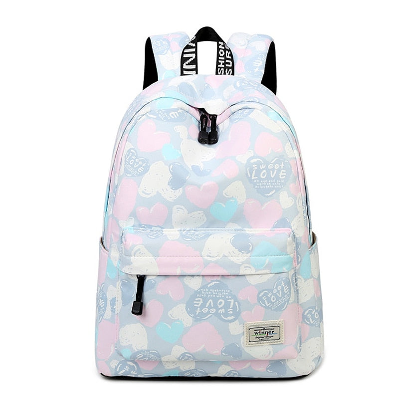 Lovely Heart Printing Nylon Backpack School Bags
