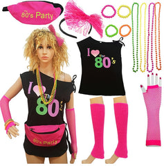 80s theme Party Favor 80`s Costume Women And Accessories Set gift for girlfriend Fanny Pack Bangle Headband 80's T-Shirt Gift