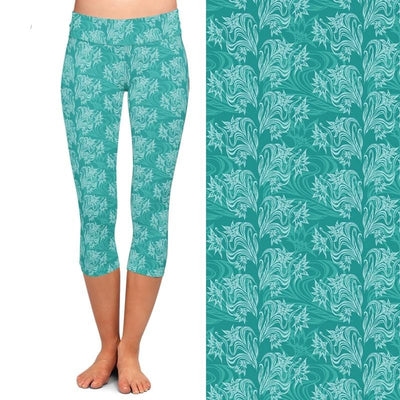 High Quality Women Capri Leggings High Waist Printing Pants 220gsm Double Side Brushed Milk Silk Turquoise Casual Leggings