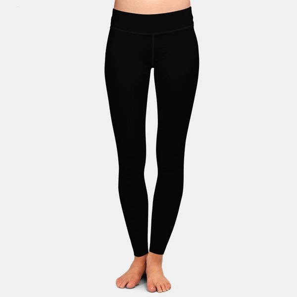 New Arrival Women Plus Size Leggings Solid Black High Waist Comfortable Breathe Freely Fitness Stretch Leggings