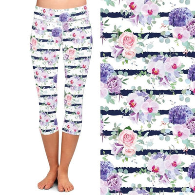 New High Elastic Capri Leggings High Waist Flowers Print Plus Size Mid-Calf 3/4 Stretch Women Leggings for Summer