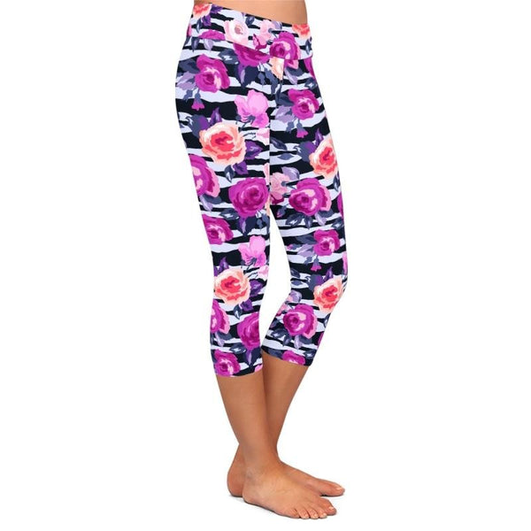 Summer Hot Women 3D Colorful Flowers Print Mid-Calf Leggings High Waist Fashion Women Fitness Capri Leggings