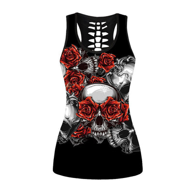Gothic Tank Top Women Sexy Banshee Mask Rose Print Vest Skull Hollow Out Tops Punk Sleeveless Top Plus Size