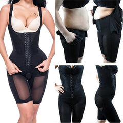 Women Full Body Shaper Seamless Thigh Corset Tummy Control Underbust Slimming Bodysuit Shapewear Powernet Waist Stomach Trainer