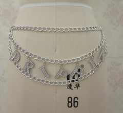 European and American INS with Drill Letters DRIPPIN Pendant Waist Decoration Multi-layer Waist Chain