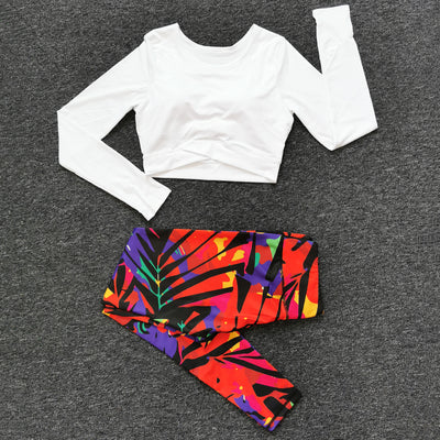 Yoga sets Women Sports Suits T-shirt (With Chest Pad) + Running Fitness Leggings