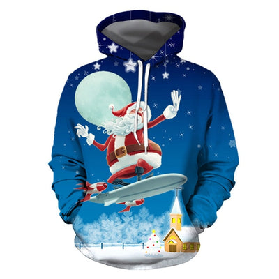 Women CHRISTMAS Snowman 3D Sweater hooded