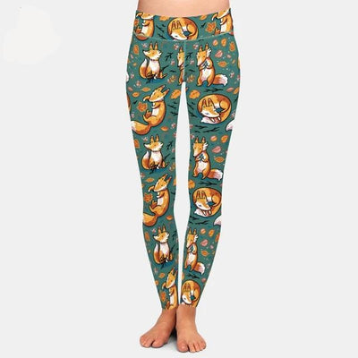 New 3D Digital Printing Fox Leggings High Waist Elastic Trousers Fashion Plus Size