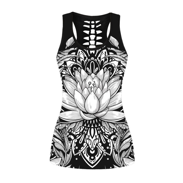Fashion Lotus Printed Women Vest Digital Printing Sleeveless Tops Gothic Streetwear Hollow Tank Top Plus Size