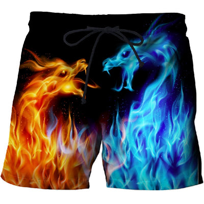 Ice & Fire Dragon 3D Print Summer Beach Shorts Streetwear Men Board Short Plage Casual Quick Dry Sport  Shorts