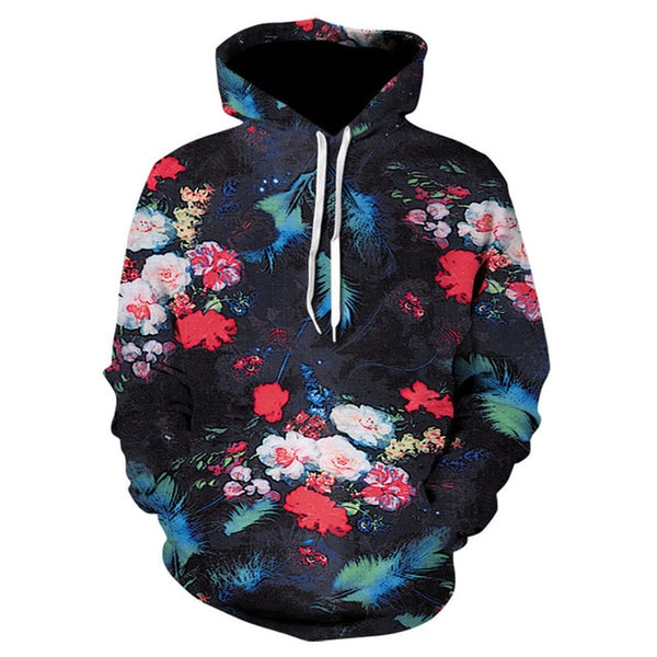 Men/Women autumn winter Hoodies Men's Sweatshirts Rose flower print Sweatshirts Plus Size 5XL Loose pullover Hoodie Tops