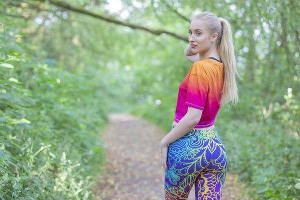 Fashion Women Blue Printing Mandala Leggings Sexy Workout Elasticity Pants Fitness Stretch Slim Bottoms