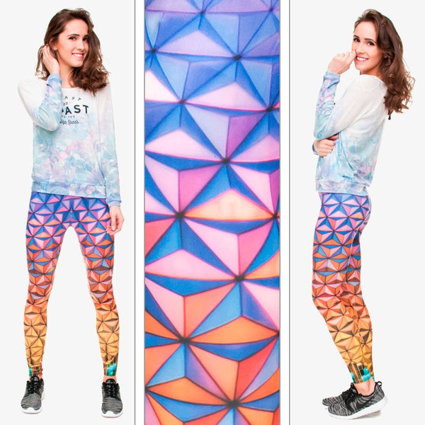 High Elastic Leggings Gradient Triangle Glass 3D Printing Trousers Fitness Legging Slim Legins Women Pants