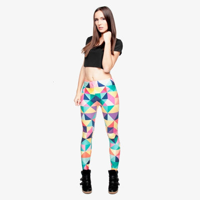 Fashion Triangles Color Printing Legins Womens Legging Stretchy Trousers Casual Pants Leggings Free shipping