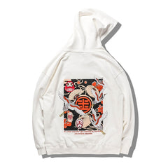 Japanese Style Crane Folding Fan Print Hooded Japan Ukiyo-e Sweatshirts Hoodies Harajuku Hip Hop Pullover Streetwear
