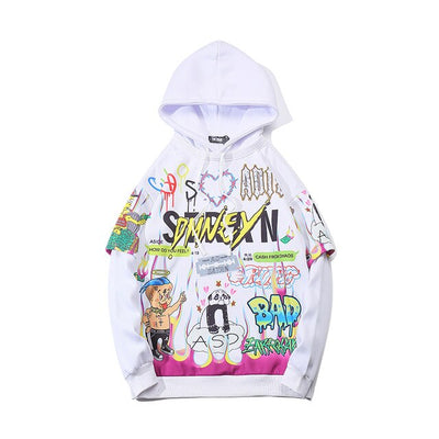 Men Graffiti Cartoon Printed Funny Men Pullover Hoodie