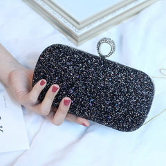 Luxury Shiny Evening Bag PU Bling Bling Lady Chain Banquet Box Flap Handbag Women Hand Bags Day Clutches Party Ball Pink