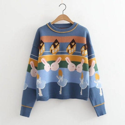 Women Thick Winter Long Sleeve O-Neck Knitted Drop Sweater