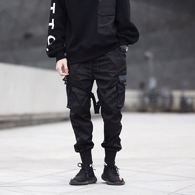 Men Joggers Pants Multi-pocket Elastic Waist Harem Pants Men Hip Hop Streetwear Sweatpants Pencil Pants Techwear