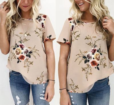 Summer Women Blouses Chiffon Print Blouse Short Sleeve Shirts Casual Ladies Clothing
