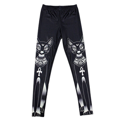 Summer style Leggings For Women's cute Black white cat Digital Printing Elasticity Pants Elasti pants Plus size Drop ship