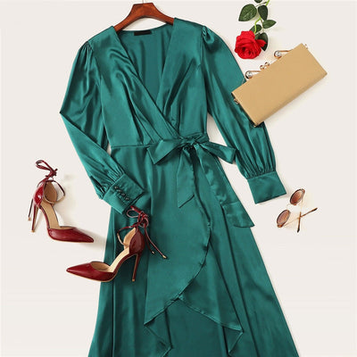Green Solid Surplice Wrap Knot High Waist Belted Maxi Plain V Neck Dress Women Casual Summer Modern Lady Elegant Dress