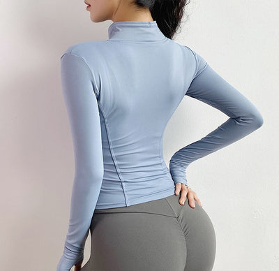 Women  Slim Fit Long Sleeved Fitness  Yoga Crop Tops