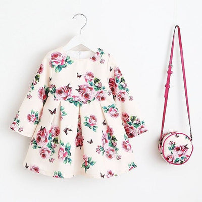 Princess Girls Dress  Children Christmas Dress with Bag Printed Kids Dresses for Girls Clothing
