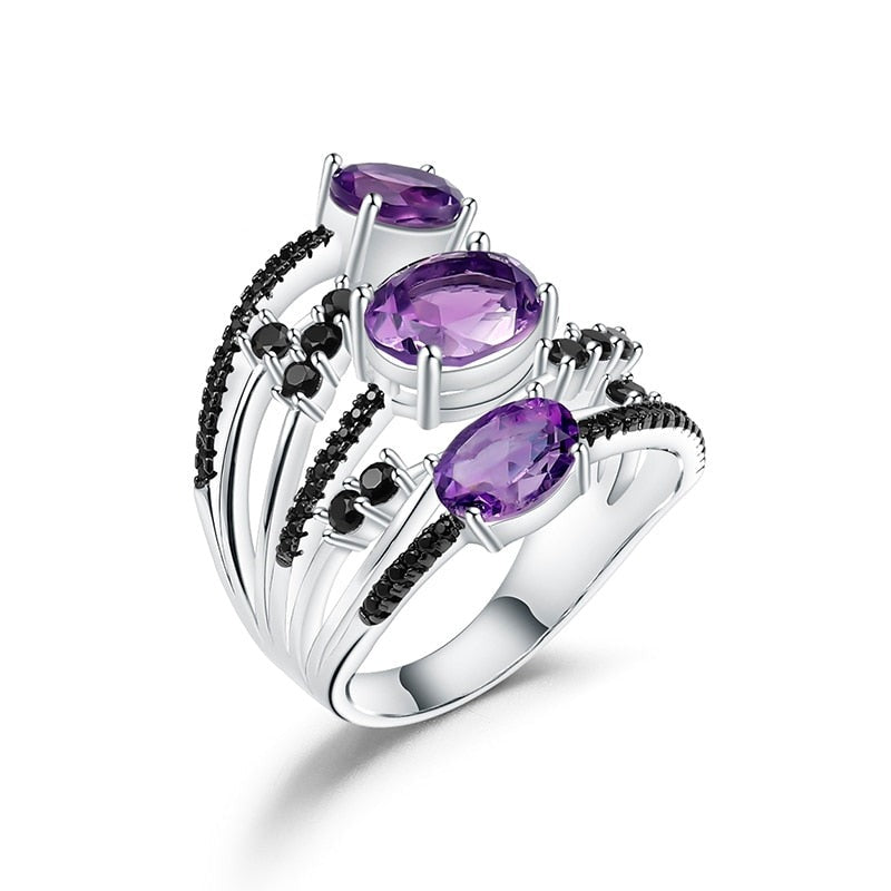 3.42Ct Oval Natural Amethyst Gemstone Ring 925 Sterling Silver Finger Triple Rings For Women Gift Fine Jewelry