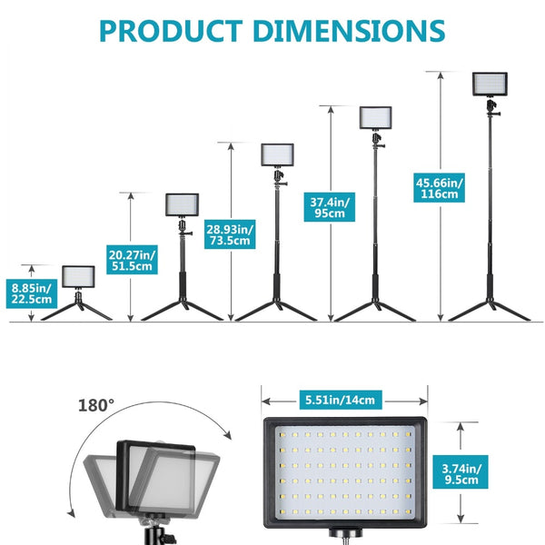USB LED Video Light 2 Packs Dimmable 5600K with Adjustable Tripod Stand/Color Filters for Tabletop/Low Angle Shooting