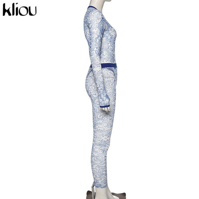 fashion pattern Print Mesh Spliced Two Piece Set Women Long Sleeve See Through Bodysuit leggings slim 2 Piece Outfit