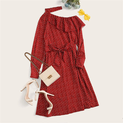 Polka Dot Print Ruffle Trim Cut Out Neck Sexy Dress Women Clothes Spring Glamorous Long Sleeve Belted Midi Dress