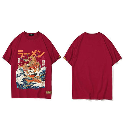Harajuku Women Men Hip Hop  Noodle Ship Cartoon Tshirts