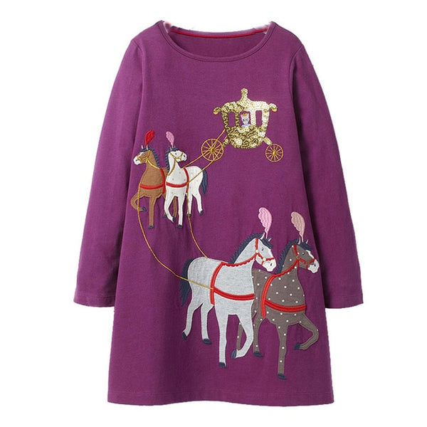 Girls Dress with Animal Applique Princess Dress Children Costume Robe Fille