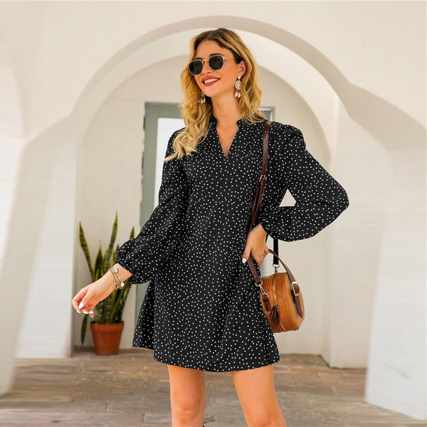 Green Notched Polka Dot A-line Short Dress Women Spring Summer Long Bishop Sleeve Loose Casual Tunic Dresses
