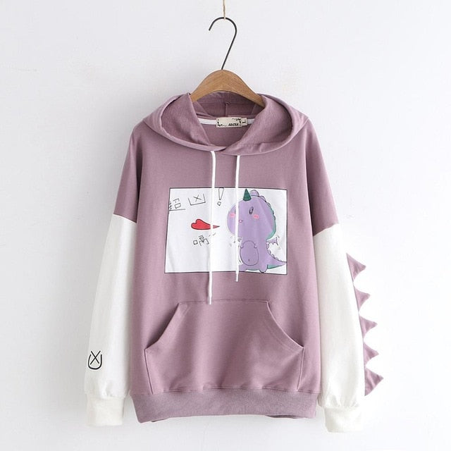 Women Dinosaur With Horns On sleeve Cotton Fleece Hoodies Sweatshirts