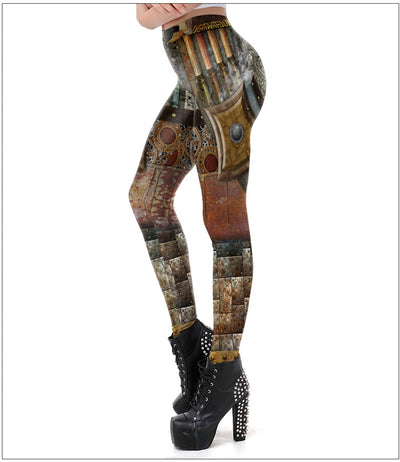 New Punk Style Dark Grey Steampunk Gear of War Printed Leggins Women Workout Legging Fitness Ankle Pant