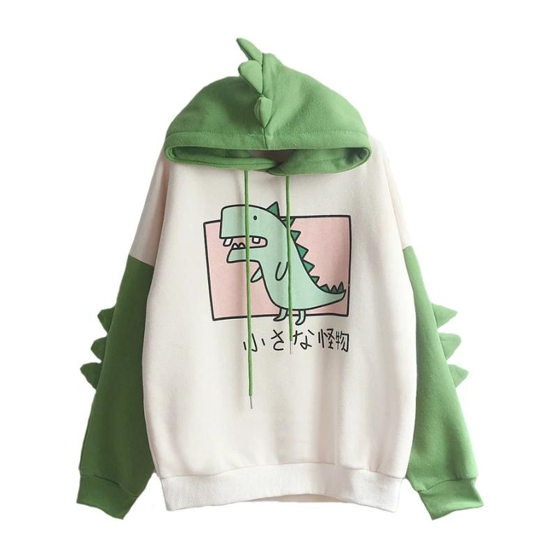 Women Dinosaur Sweatshirts Hooded Warm Fleece