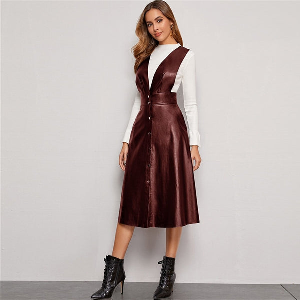 Plunging Neck Button Front PU Overall Dress Women Spring High Waist Sleeveless Fit and Flare Pinafore Elegant Long Dresses