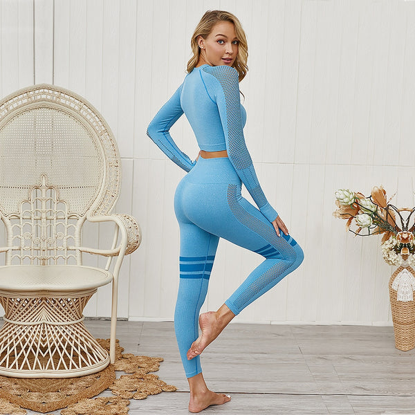 Women Sportswear Fitness Thumb Hole Sport Suit Yoga Seamless Set