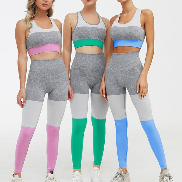 Seamless Patchwork Yoga Sets Women Fitness Clothing