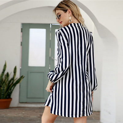 Notched Collar Striped Casual Shirt Dress Women  Spring High Street Long Sleeve Basic Ladies Short Tunic Dresses