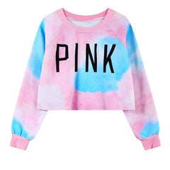 Women PINK Letters Printed Harajuku Long Sleeve Sweatshirt