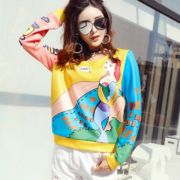 Women Fashion Korean Style Long Sleeve Sweatshirt