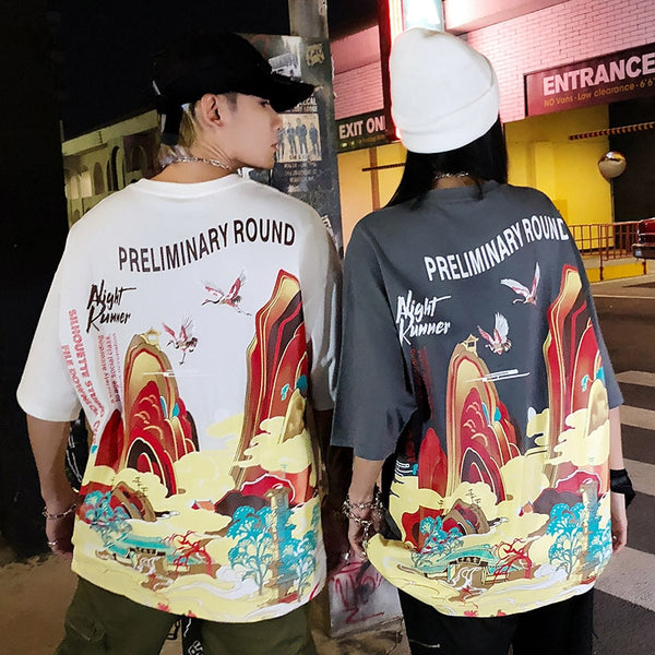 Streetwear T Shirt Men Hip Hop Chinese Colorful Fairyland Tshirt Short Sleeve Cotton