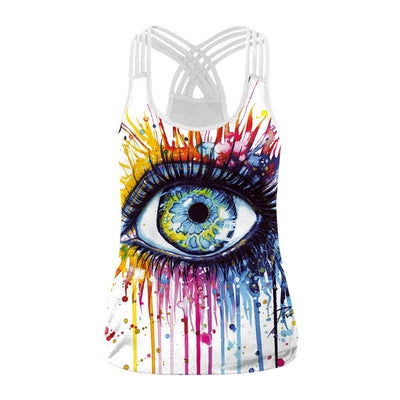 Fashion Harajuku Style Multicolor Unicorn Printing Women Vest Sexy Hollow Tank Top Sleeveless Back Sling Tops