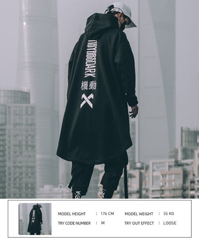 Letter Embroidered Hip Hop Cloak Long Jacket Men Casual Streetwear Harajuku Pockets Turtleneck Trench Coats Male