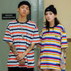 Harajuku Stripe Tshirt Short Sleeve Cotton HipHop T-Shirt Loose Fashion Tops Tees Green Blue