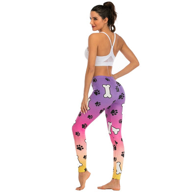Women Fashion Legging Dog Purple Ombre Gradient Color Printing leggins Slim legins High Waist Leggings Woman Fitness Pants